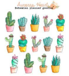 Cactus planner stickers boho