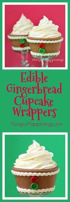 What better way to add to a cupcake then to wrapping a yummy cookie around it. Use some Edible Gingerbread Cupcake Wrappers and just watch your family's eyes light up with joy.