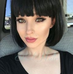 Classic Short Brenettes Bob Lace Front Human Hair Wigs With Blunt Bangs