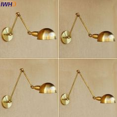 45.00$  Buy now - http://alifyk.shopchina.info/1/go.php?t=32817216353 - IWHD Loft Vintage Iron Wall Light Lamp For Home Bedroom Bare restaurant Retro Long Swing Arm Gold Wall Lights Indoor Lamparas    #aliexpresschina
