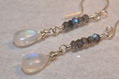 Moonstone Earrings Labradorite Sterling Silver AAA Gemstones Dangle Earrings. $43.00 via Etsy.