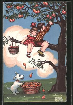 Künstler-AK Margret Boriss: Kinder auf Birnbaum 0