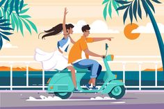 Flat man and woman couple riding on motorbike near summer sea. Concept trip and date characters, vehicle. Vector illustration.    Vector files, fully editable.