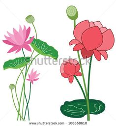 Lotus Flower Banner - Detailed and easily editable - stock vector