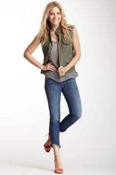 vest, stripes, jeans, heels