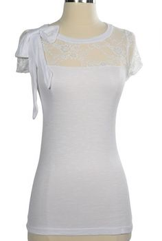 Lacy and Ladylike Bow Top in White    www.lilyboutique.com