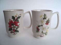 """2 Pickard Christmas Gold Chocolate Mug Cup Holly Red Berries Pointsettia """"91,""""92 #Pickard"""