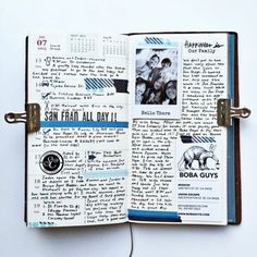Art Journal pages, inspiration and ideas for keeping an art journal or a midori travel journal, notebook, or scrapbook Bullet Journal Décoration, Album Journal, Journal Diary, Scrapbook Journal, My Journal, Travel Scrapbook, Journal Notebook, Journal Pages, Journal Ideas
