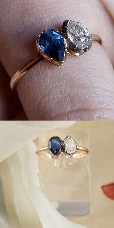 Georgian. Sapphire and Diamond Ring, French, c1796. (Napoleon' s Engagement Ring to Josephine).