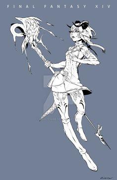 Commission - Sakae by Rousteinire  Key: Final Fantasy, FFXIV, FF14, White Mage, Black Mage, Swansgrace, Square Enix, Fanart, Digital Art, BW, Sketch