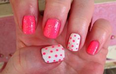 Pink and Polka Dots. All Sinful Colors Polishes used...24/7, Pinky Glitter and Snow Globe.