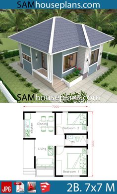 House Plans with 2 Bedrooms full plans - Sam House Plans - Architecture Mini House Plans, Little House Plans, Dream House Plans, Small House Plans, Full House, Dream Houses, House Plans With Photos, Simple House Design, Tiny House Design