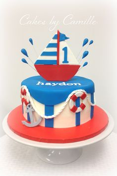 Nautical Birthday Cake, red white and blue birthday, sailboat cake, Cakes by Camille