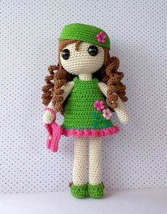 Crochet doll in a spring dress and hat. (Inspiration). ♡