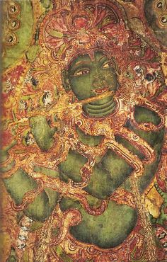Lord Krishna playing the flute adorns a mural at Mattancherry Palace, Cochin, Kerala. The notes of Krishna's flute drifting through the woods are the call of the divine.