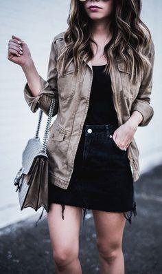 Brown Jacket & Black Top & Black Denim Skirt & Grey Printed Tote Bag