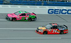 Danica Patrick and Tony Stewart on track during the CampingWorld.com 500, Talladega, 10/25/15. Photo credit to Harold Hinson Photography/Alan Marler via Team Chevy GooglePlus