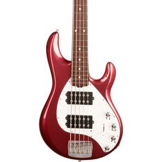 First introduced in 1987, the StingRay5 has be one of the most iconic bass guitars in history. For 2018, the StingRay5 has been reimagined with new features and appointments that provide a new level of playing comfort while retaining that revered iconic StingRay5 sound. Featured revisions include an enhanced contour that is rounded for more comfort in any playing position, a sculpted neck joint for uninhibited upper fret access to all 22 stainless steel frets, and lightweight aluminum hardware p Red Electric Guitar, Bass Guitar Lessons, Bass Guitars, Mists, Appointments, Contour, Burgundy, Hardware, Stainless Steel