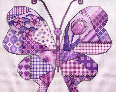 Precioso mosaico mariposa patrón  Imagen acabado medida 7 x 7.5 pulgadas 14 cuenta aida... Contiene sólo todo puntadas y pespuntes  El vendedor conserva el derecho de autor