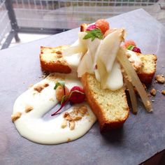 Pachamamas - Yogurt cake with rum-compressed pears, creme anglaise, pasted hazelnuts $6 #Lawrence Kansas