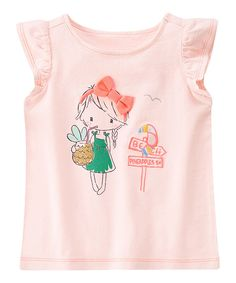Look at this Sunwashed Pink Sign Angel-Sleeve Tee - Infant, Toddler & Girls on #zulily today!