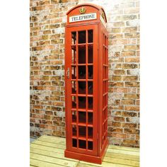 Red Telephone Box Wooden Wine Rack Cabinet