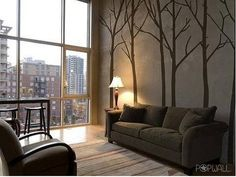 Wall Stickers: Winter Trees Brown