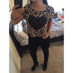 Cheetah Crop Top Cheetah patterned w/ lace black heart in front. Semi-crop top, goes down to belly button. Material Girl Tops Crop Tops