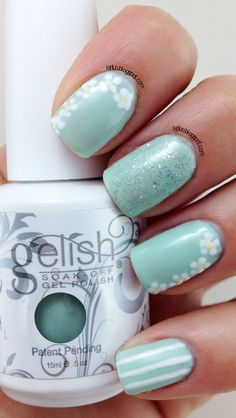 Mint Green Flowers and Stripes Nail Art