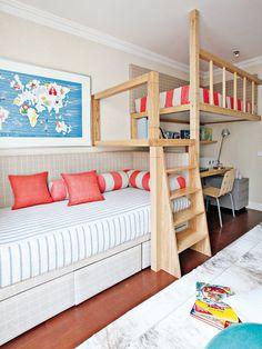 Habitación juvenil con dos camas a diferente altura