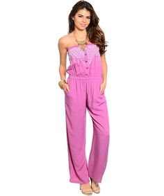 Fun and Flirty Lilac strapless jumpsuit perfect for hot weather. Always free shipping