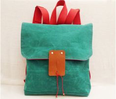 Seagreen Canvas Backpack by Ottobags >> Fun bag, cute color!