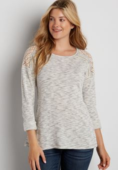 pullover with lace up back and crocheted shoulders (original price, $34.00) available at #Maurices