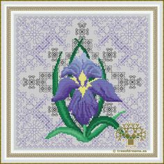 Theeleventhof 12 designs in the Azulejos Series:Iris.It's a floral design with Blackwork and Cross stitch. Available as PDF file/Paper Chart.