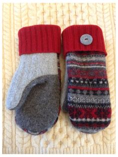 #upcycled #mittens #from #sweaters #upcycledmittensfromsweaters Recycled upcycled wool sweater mittens lined with blizzard fleece Knitting Projects, Crochet Projects, Old Sweater Crafts, Fabric Crafts, Sewing Crafts, Sweater Mittens, Sweater Blanket, Wool Sweaters, Wool Felt