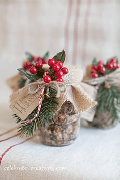 the Gift of Granola | packaged up nicely in mason jars and adorned with seasonal embellishments
