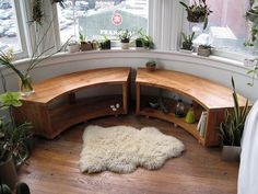 Curved Bay Window Bench Recycled Douglas Fir by jeremiahcollection. $1,100.00, via Etsy.  If only I had enough money that this wasn't an exorbitant amount...but I don't have a round room, so it wouldn't be exactly practical