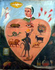 Um cartaz alegórico do tipo usado por Nobletz, retratando um coração humano dominado pelos sete pecados mortais Catholic, Painting, Human Heart, Poster, Wall Cupboards, Board, Painting Art, Paintings