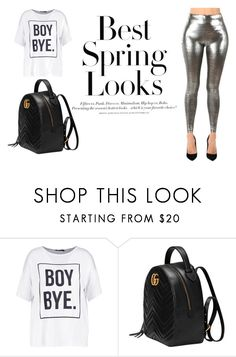 """""""Comfortable Spring Look"""" by mkartall ❤ liked on Polyvore featuring H&M, Boohoo and Gucci"""