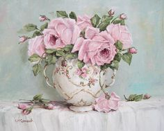 free shabby chic rose painting images  | Foto tratta da http://fineartamerica.com/