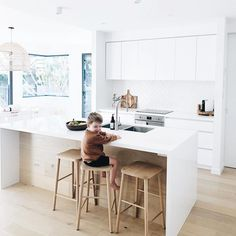 """Green Cathedral Furniture on Instagram: """"Solid oak Hastings Stools spotted in the kitchen of @leighgc 🙌🏼 Thanks for sharing 💚 #hastingsstool #greencathedral"""" Natural Kitchen, 7 Months, Solid Oak, Home Kitchens, Kitchen Dining, House, Furniture, Stools, Design"""