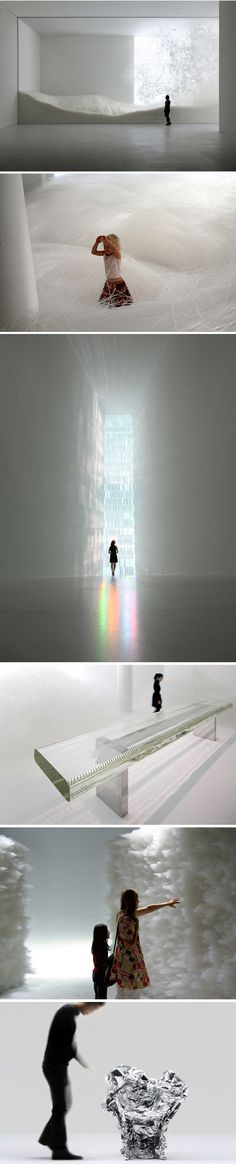 "Tokujin Yoshioka creates interiors, installations and architecture where people can feel the light with all their senses. He explores beauty born out of coincidence and beyond human imagination; his work echoes the beauty of nature with its ever-changing expression, giving the idea ""that the design doesn't even exist""."