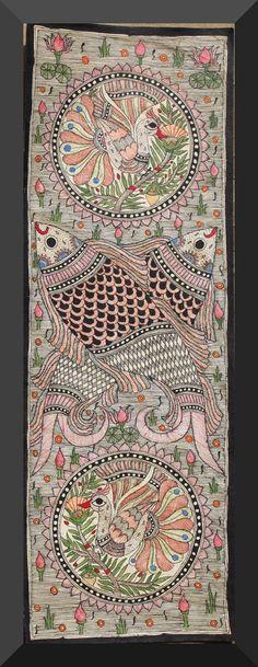 Madhubani Painting - Fish and Peacocks