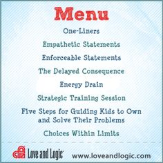 Image of: Discipline Not Sure How To Handle Behavior Or Situation Consult This Menu Or Call To Get Help From Live Person Love And Logic Pinterest 11 Best Handouts From Love And Logic Images Healthy Kids