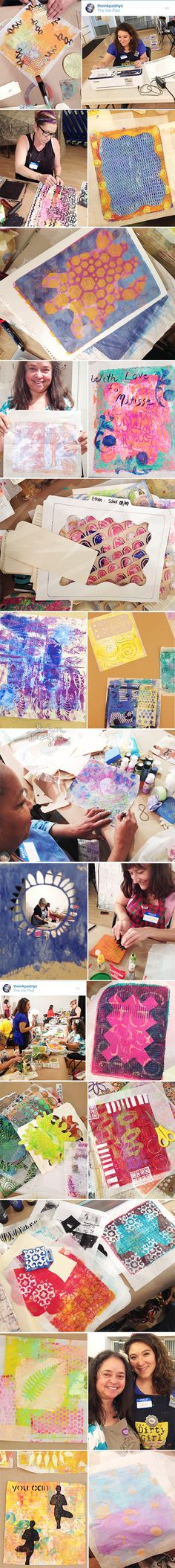 """from the Balzer Designs Blog: Gelli + Deli at The Ink Pad ~~""""The Ink Pad brought their ScanNCut to class and I showed students how quick and easy it is to cut stencils based on drawings or magazine images.  By the by, if you order a ScanNCut from The Ink Pad, they offer you 15% off all ScanNCut accessories forever. """""""