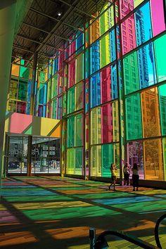 Blaze of Colour - Montreal Convention Centre, Quebec, Canada; photo by caribb, via Flickr