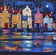 Scottish Artist Ritchie COLLINS-Doon The Harbour Pub