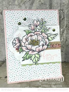 Birthday Blooms paired with the Birthday Bouquet Designer Series Paper. Kimberly Van Diepen