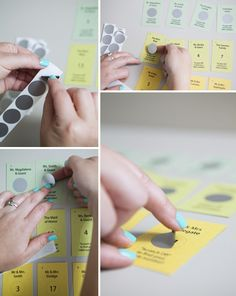 """DIY Wedding // Making these """"scratcher escort cards"""" is made super easy by using 'scratcher stickers' from EasyScratchoffs.com!"""