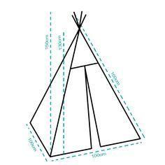Este tipi es ideal para una habitación infantil, cuarto de juegos o el dormitorio de un pequeño aventurero! Nos recuerda las tradicionales cabañas de los indios por su tejido natural (100% algodón), los palos de madera de pino y su cuidada elaboración